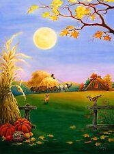 """Harvest Moon Autumn House Flag Fall Farm Scene Full Moon 28"""" x 40"""""""