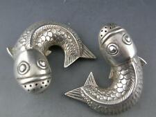 pr 800 Silver figural Salt & Pepper Shakers Japanese Koi / Carp Fish