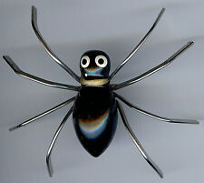 BIG VINTAGE 1930's CHROME BLACK LAQUER ON WOOD DIMENSIONAL SPIDER PIN