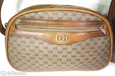 Vintage GUCCI Brown GG Monogrammed Small Saddle Sling Shoulder Bag Italy