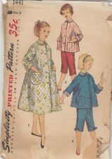 Vintage Girls' Pajamas and Housecoat Sewing Pattern S1441 Size 8