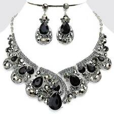 Black-Diamond Crystal Affordable Necklace Set Chunky Elegant Costume Jewelry