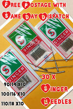 30 x SINGER DOMESTIC SEWING MACHINE NEEDLES  SIZE 14,16 & 18 10 OF EACH VINTAGE