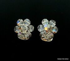 1950's FUNKELWUNDER Aurora Borealis Kristall Ohrclips Ohrringe Crystal Earrings