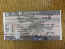 06/04/2012 BIGLIETTO: Swansea City V Newcastle United [ Completato ]. FOOTY progs / bobf