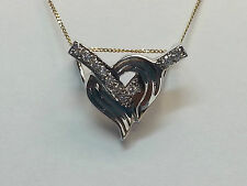 RHODIUM PLATED AND CUBIC ZIRCONIA HEART SLIDE PENDANT!!
