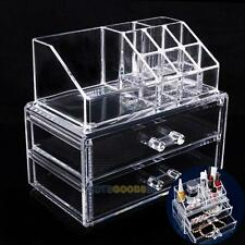 Acrylic Makeup Organizer 2 Drawers Cosmetic Case Brush Storage Insert Holder Box