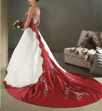 Custom white and red satin embroidery Wedding bridal Prom Dress gown Size 8-22