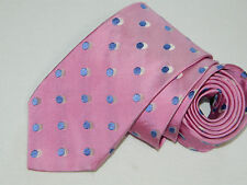 Men's Ted Baker Pink Dots  100%Silk Neck tie Made in USA