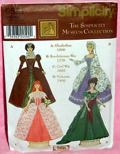 "Uncut Simplicity Museum 11½"" Barbie Doll Historical Dress Gowns Pattern 9521"