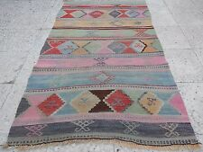 Eclectic Bohemian Decor Handmade Wall Hanging Small Faded Kilim Rug 3 x4.7 ft.