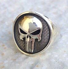 Solid Sterling Silver 925 Heavy 3D The Punisher Skull Ring