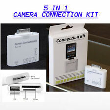 5 in 1 Camera Connection Kit SD Card Reader Adattatore Per iPad 1 2 3, iPhone 4 4s