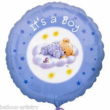"18"" Blue Adorable Roly Bear Boy's New Baby Shower Party Round Foil Balloon"