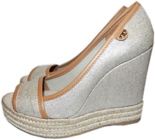 Tory Burch 'Majorca' Wedge Sandal Peep Toe Espadrille Pump Shoe Grey - 39-  9