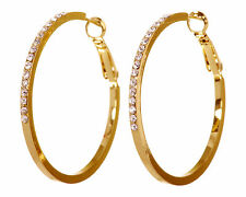 "Swarovski Elements Crystal 1 1/2 "" Fine Hoop Pierced Earrings Gold Plated 7218w"