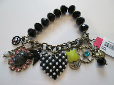 NWT Auth Betsey Johnson Wonderland Heart Bird Charm Beaded Stretch Bracelet