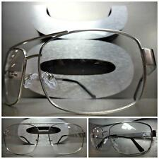 New Mens CLASSIC VINTAGE RETRO Style Clear Lens EYE GLASSES Silver Fashion Frame