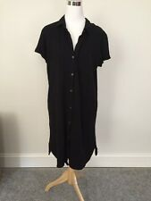 James Perse Cotton Jersey Shirt Dress Black Size 4 NWT