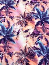 SPUN POLYESTER Exotic Tropical Palm Tree Print Jersey Stretch Dress Sew Fabric