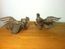 Pair Vintage Brass Fighting Cock Rooster Figural Bird Sculpture Statues