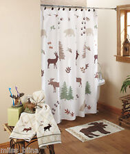 New Rustic Lodge Bear Moose Shower Curtain Pump Toothbrush Holder Cabin Set 3pc