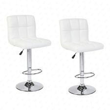 Modern Design Set of 2 Bar Stools Leather Adjustable Swivel Pub Chair In White
