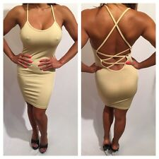 Connie's Super Sexy Semi Sheer Ultimate Backless Tan Nude Tank Dress S