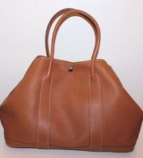 HERMES Authentic Tan Leather Garden Party Tote Handbag