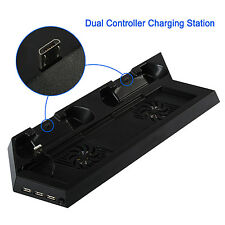 PS4 Cooler Cooling Fan Stand Quietness Dual Gamepad Charging Dock With HUB 4 In1