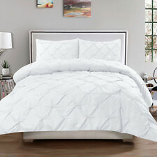 Luxury 3 Piece Pinch Pleat Pintuck Duvet & Pillow Sham Set White Queen