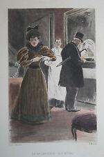 Eau-forte aquarelle pochoir La Femme à Paris Pierre Vidal Fred. Massé Uzanne 5