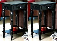 Set of 2 ** BLACK COLONIAL CARVED SIDE, END OR NIGHT TABLES * Drawer/Shelf * NIB