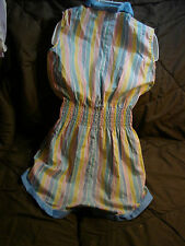 Vintage 60s Girls TLC ROMPER 14 Cinderella STRIPES Shorts Playsuit SHIRRING
