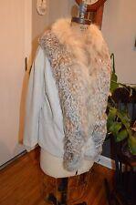 vintage tan knit jacket blazer lynx fox fur trim M