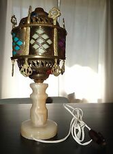 Antique Middle Eastern Metal Filigree & multi colored LAMP w/ Marble base