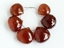 AA Hessonite Garnet Faceted Heart Briolette Gemstone Beads 10-11.5mm.