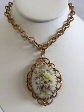 VINTAGE MIRIAM HASKELL HAND PAINTED FLORAL ANTIQUE GOLD TONE NECKLACE SIGNED