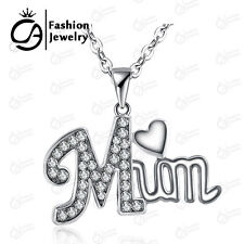 MUM Heart Pendant Necklace With Rhinestone Women Girls Mother day Gift