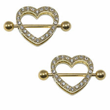 Gold Heart Nipple Rings Shield 14g I.P with CZ Gems 1Pair