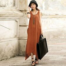 Zanzea S-3XL Plus Size Sleeveless Pocket Irregular Cotton Long Maxi Dress BOHO