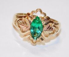Black Hills Gold Mt St Helen's Emerald Marquise Ring 10kt 12kt Coleman Size 7