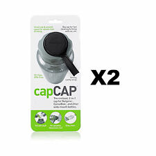 humangear capCAP Black Water Bottle Cap for 63mm Wide-Mouth Bottles 2-Pack