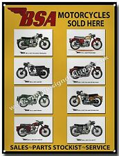 BSA MOTORCYCLES SOLD HERE METAL SIGN.VINTAGE BRITISH BSA MOTORCYCLES.A3