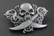 Crâne & épées croisées métal boucle de ceinture