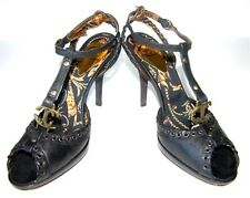 NEW CAVALLI LEATHER PLATFORM SHOES BLACK SHOES SANDALS 39.5 - US 9.5