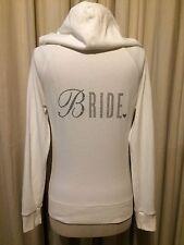 Victoria's Secret I Do White Bride Wedding Zip Up Satin Hoodie Jacket Small EUC
