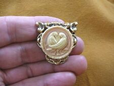 (cs7-29) DOVES bird ivory pink peach CAMEO Pin Jewelry brooch PENDANT necklace