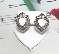 """Marcasite With Mother Of Pearl Earrings. 3/4"""" Long. MARC0013"""