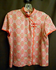 Asian Chinese Mandarin Collar Blouse Top Pink Bronze Floral Short Sleeve M  New